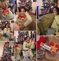 Emma Dozier hugging her Believe With Me christmas bag full of presents